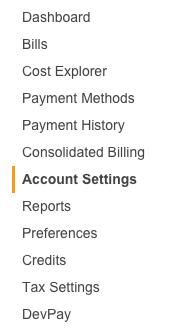 AWS - Billing - Account Settings Menu