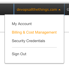 AWS - Billing & Cost Management Menu