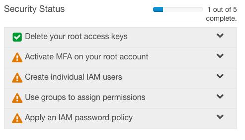 AWS - IAM - Security Steps 1 of 5
