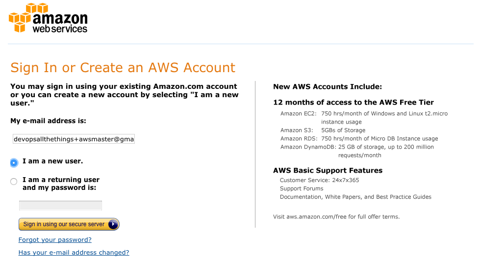 AWS - new account step 1