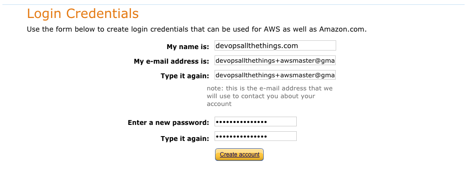 AWS - new account step 2